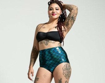 Extended Sizing Caribbean Turquoise High Waist Mermaid Bikini Bottom Pinup Style