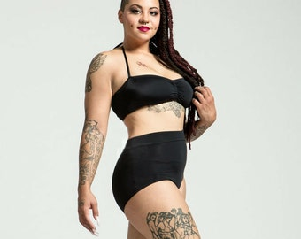 Extended Sizing Caviar Black High Waist Bikini Bottom Pinup Style