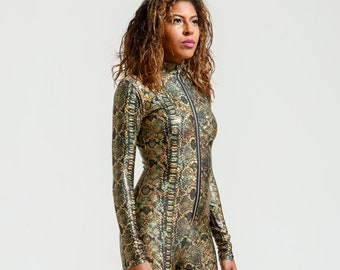 High Collar Witch's Gold and Black Metallic Snake Anaconda Catsuit