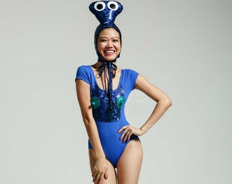 Fly Time Alien Costume - Blue/White