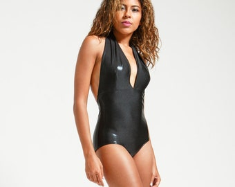 Classic Black Stingray Leatherette Marilyn One Piece Halter Bathing Suit