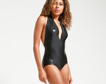 2e50e28bbaacb Classic Black Stingray Leatherette Marilyn One Piece Halter Bathing Suit