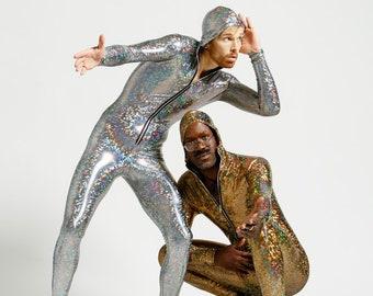 Mens/Unisex Silver Holographic Bodysuit JoyCatalyst