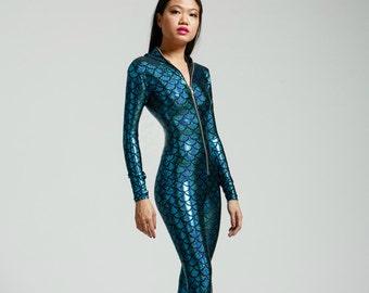 Turquoise Mermaid Holographic Bodysuit