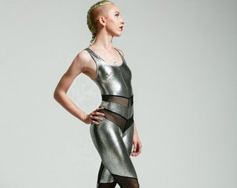 Snake Print Gunmetal Silver or Gold and Black Mesh Holographic Portal Suit for the Modern Superhero - Free Shipping