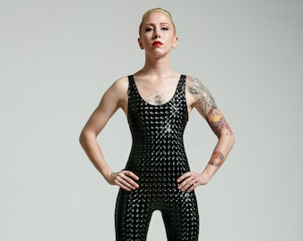Black Robot Lovers Vinyl Sleeveless Suit for the Modern Superhero - Free Shipping