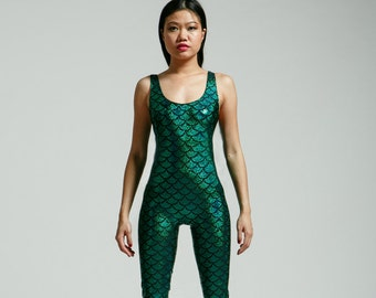 Green Mermaid Sleeveless Bodysuit - Free Shipping