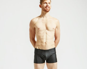 Matte Black Leather Look Mankinis For Poolside Lounging or General Hotness