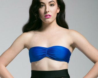 Blue Bandeau Bikini Top