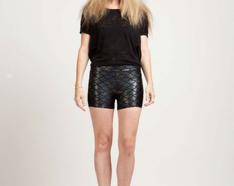 Squid Ink Black Mermaid Holographic Boom Boom Shorts