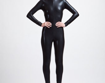The Perfect Black Catsuit, wet look, stingray leather look