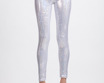 White Holographic Super High Waist Liquid Leggings