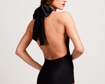 Classic Black Marilyn One Piece Halter Bathing Suit