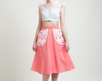 SALE Tahitian Tiare Appliqued Pocket, Knee Length High Waisted Skirt