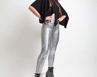 Silver Dragon Skin Holographic Super High Rise Leggings