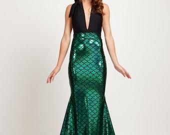 Green Mermaid Tail Maxi Skirt