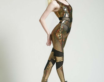 Gold Holographic Portal Suit for the Modern Superhero