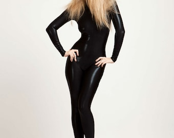 High Collared Perfect Black Catsuit, wet look, stingray leather look,with back zipper