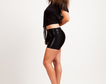Stingray Leatherette Wet-Look Boom Boom Shorts