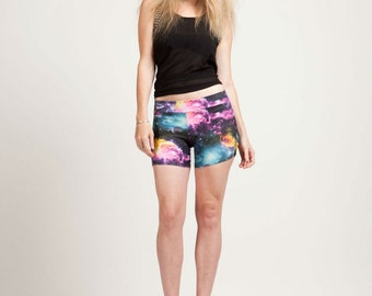 Galaxy Print Bikini Bottom Boyshort Boom Boom Shorts