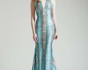 SALE Ayahuasca Snake Halter Dress with Train