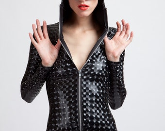 Stretch Vinyl Black Mind Warping Robot Lover Futuristic Cyborg Bodysuit