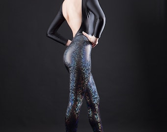 Black Rainbow Holographic Super High Waisted Liquid Leggings