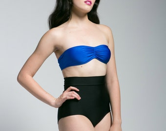 Black and Blue Colorblock High Waisted Bikini, limited quantities