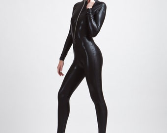 The Perfect Hooded Black Catsuit, wet look, stingray leather look