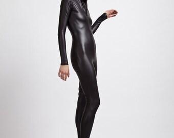 Matte Flat Black Leather Look, Coated Spandex Bodysuit