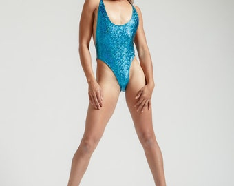 Turquoise Dragon Skin 80's One Piece Glam High Cut, Low Back Bathing Suit- Free Shipping