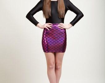 SALE Polynesian Pink Mermaid Bodycon Mini-Skirt, Metallic Holographic and Super Sparkly