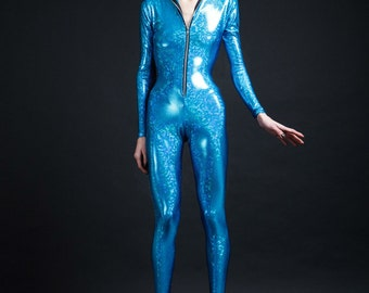 Holographic Blue Turquoise Bodysuit for Getting Naturally High