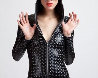 Stretch Vinyl Black Mind Warping Robot Lover Futuristic Cyborg Bodysuit