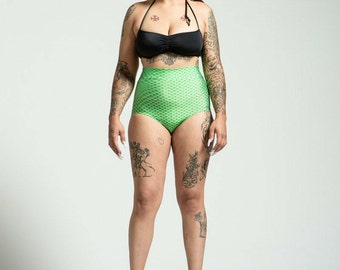 Extended Sizing Beach Safe High Waist Mermaid Bikini Bottom Pinup Style