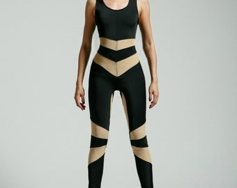 Black and Nude Mesh Flashdance Portal Suit for the Modern Superhero - Free Shipping