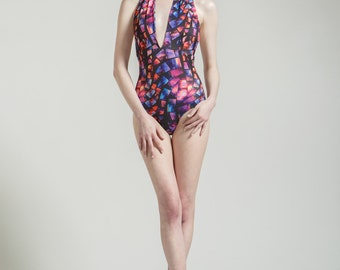 SALE Sacred Glass Marilyn One Piece Halter Bathing Suit