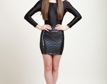 Baltic Black Mermaid Bodycon Mini-Skirt, Metallic Holographic and Super Sparkly
