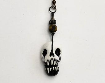 Orange Black Skull Earrings Creative Halloween Costume 14K Gold Filled Macabre Voodoo Jewelry Handmade Tribal Witch Doctor Dangles