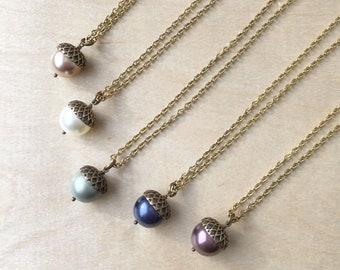 Acorn Necklace / Pearl Acorn Necklace / Nature Inspired Necklace / Strength and Luck