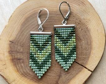 Forest Inspired Earrings / Geometric Beadwork Earrings / Beaded Earrings / Seed bead Earrings / Boho Earrings