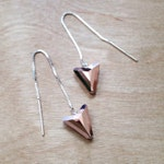 Arrowhead Earrings / Rose Gold Crystal Earrings / Threader Earrings / Sterling Silver