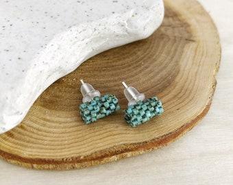 Beadwork Tube Stud Earrings / Seed Bead Studs / Simple Stud Earrings / Turquoise Studs