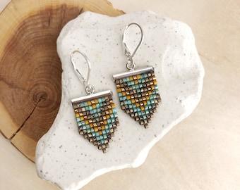 Geometric Beadwork Earrings / Beaded Earrings / Seed bead Earrings / Turquoise and Brown Earrings