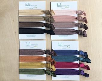 Elastic Hair Tie Set - Solids / Ribbon Hair Ties / Hair Ties / Ponytail Holders