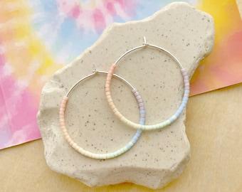 Pastel Rainbow Seed bead Hoop Earrings - Boho Bead Sterling Silver Hoops
