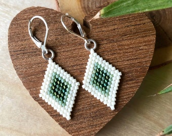 Diamond Shape Beadwork Earrings - Cactus Green / Geometric Earrings / Beaded Earrings / Seed bead Earrings