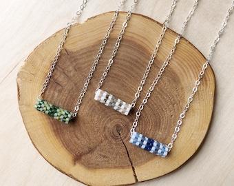 Mini Beadwork Tube Necklace / Beaded Necklace / Minimalist Jewelry / Beadwork Jewelry / Beaded Pendant