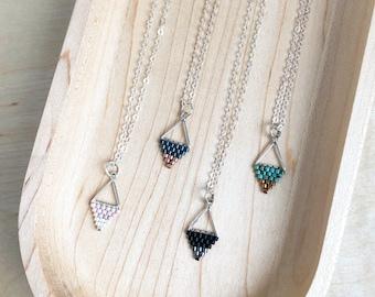 Mini Triangle Beadwork Pendants / Beadwork Necklace / Beaded Pendant / Minimalist Necklace