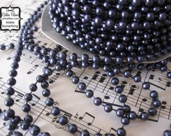 3 Yards - Black Noir Pearl Trim - Baby Small